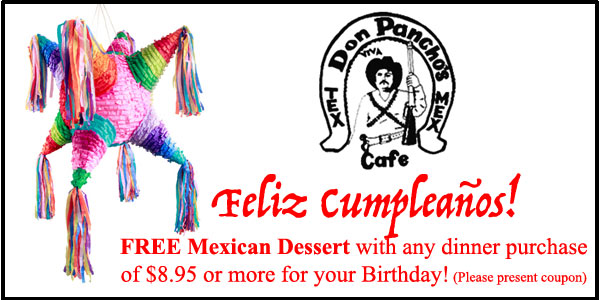 Ponchos Birthday Coupon